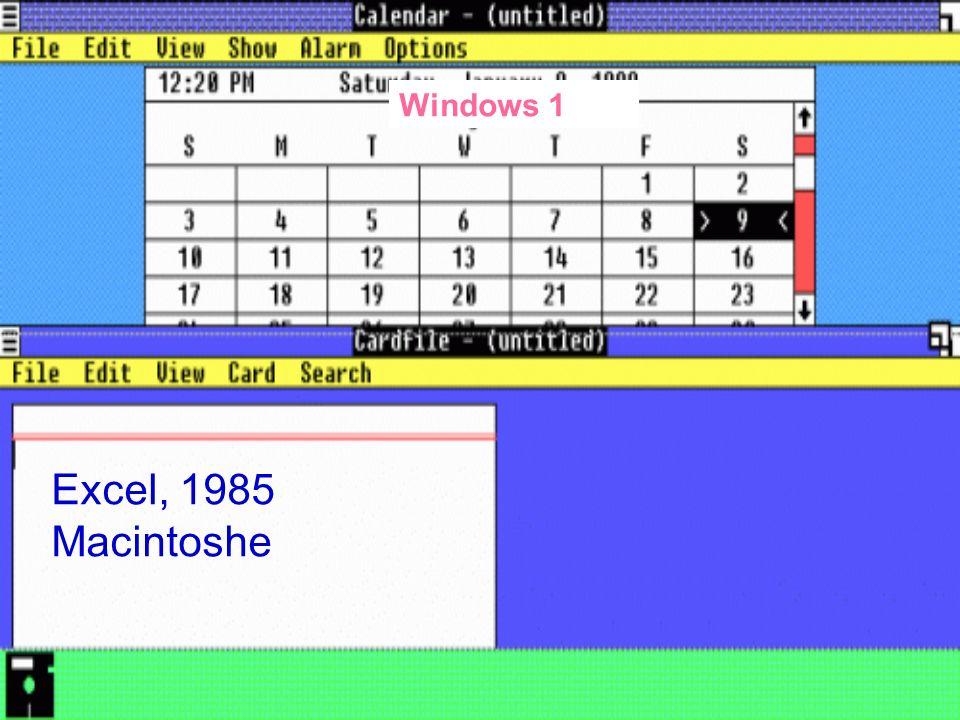 Windows 1 Excel, 1985 Macintoshe