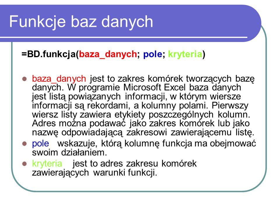 Funkcje baz danych =BD.funkcja(baza_danych; pole; kryteria)