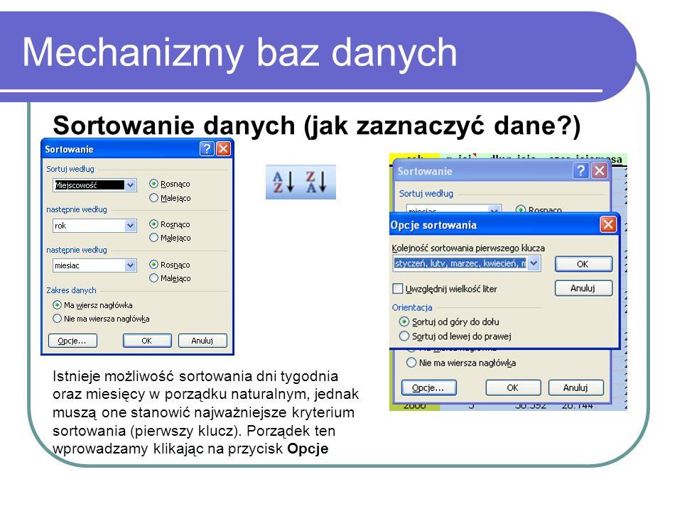 Mechanizmy baz danych Sortowanie danych (jak zaznaczyć dane )