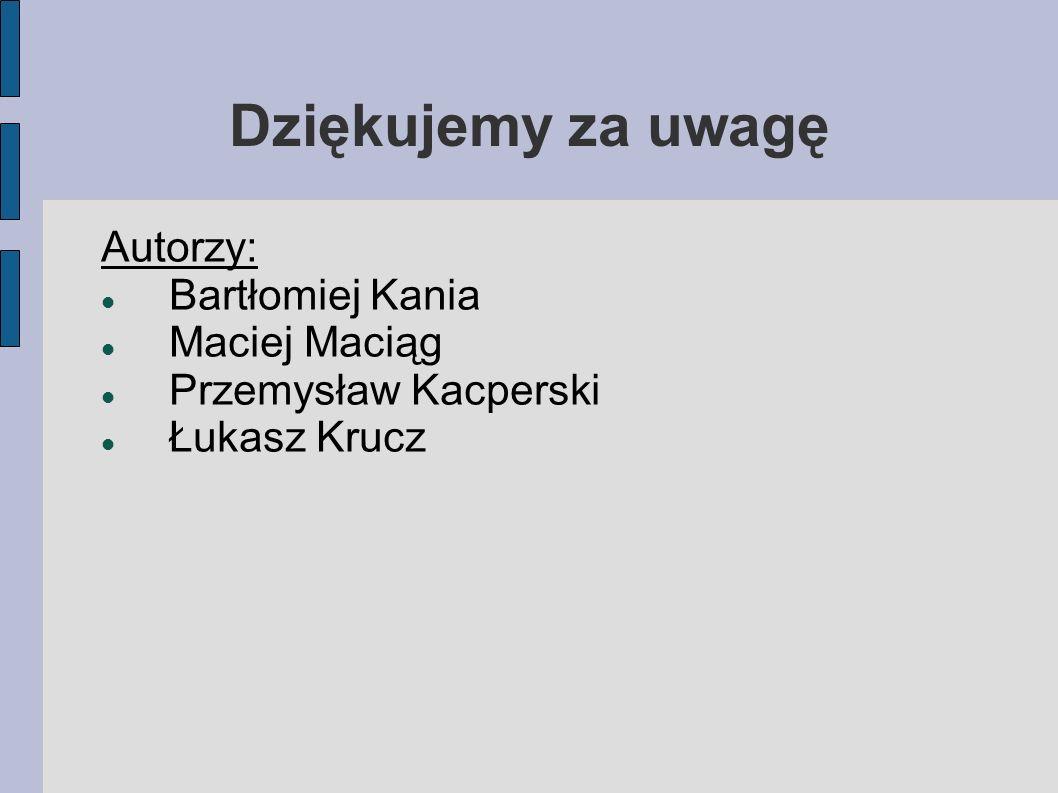 Dziękujemy za uwagę Autorzy: Bartłomiej Kania Maciej Maciąg