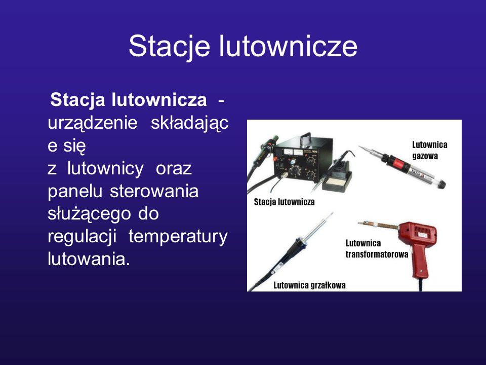 Stacje lutownicze Stacja lutownicza -urządzenie składające się z lutownicy oraz panelu sterowania służącego do regulacji temperatury lutowania.