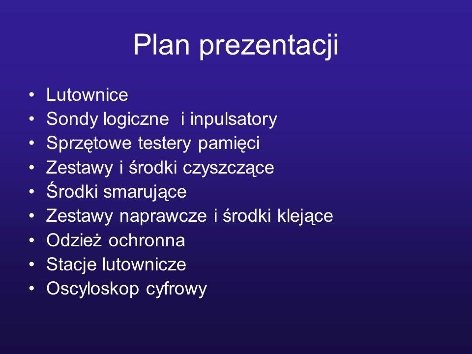Plan prezentacji Lutownice Sondy logiczne i inpulsatory