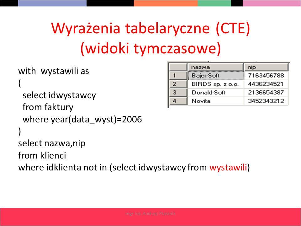 Wyrażenia tabelaryczne (CTE) (widoki tymczasowe)