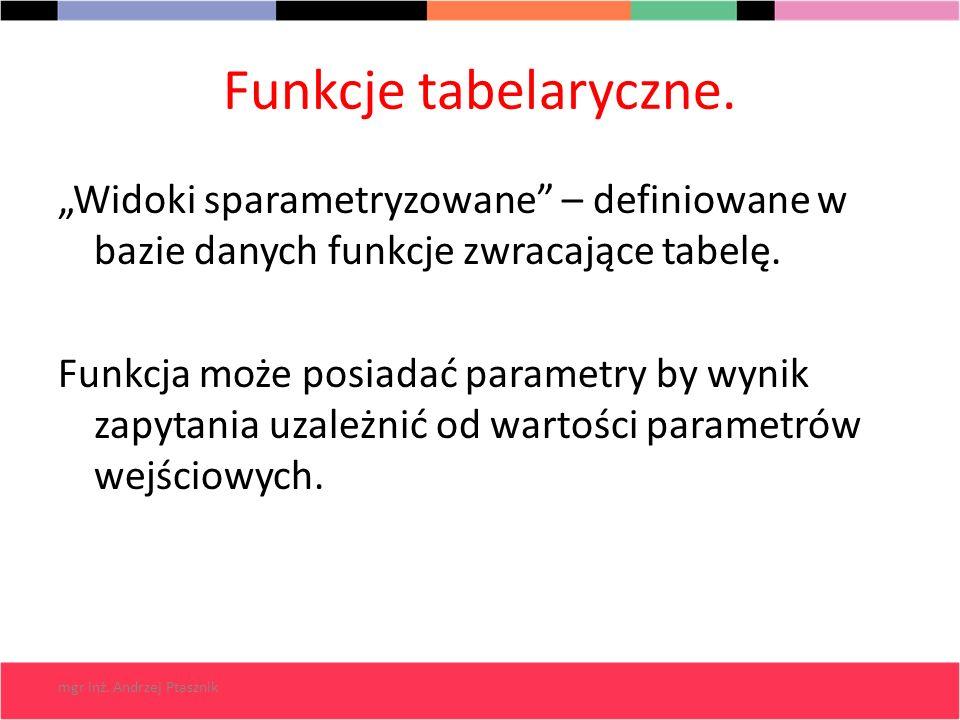 """Funkcje tabelaryczne. """"Widoki sparametryzowane – definiowane w bazie danych funkcje zwracające tabelę."""