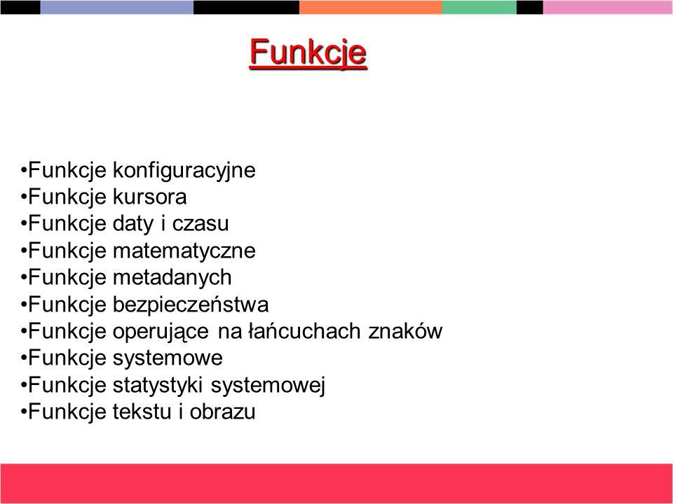 Funkcje Funkcje konfiguracyjne Funkcje kursora Funkcje daty i czasu