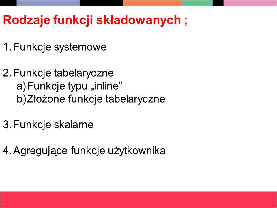 Rodzaje funkcji składowanych ;