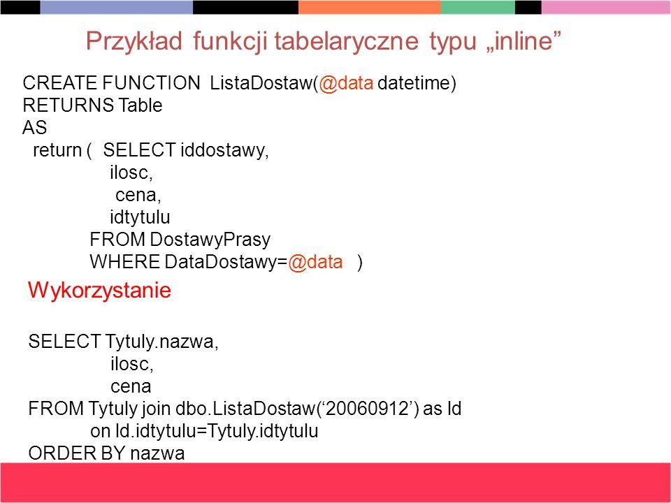 """Przykład funkcji tabelaryczne typu """"inline"""