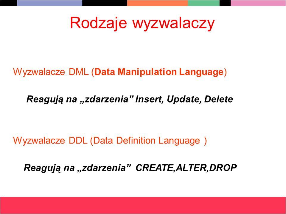 Rodzaje wyzwalaczy Wyzwalacze DML (Data Manipulation Language)