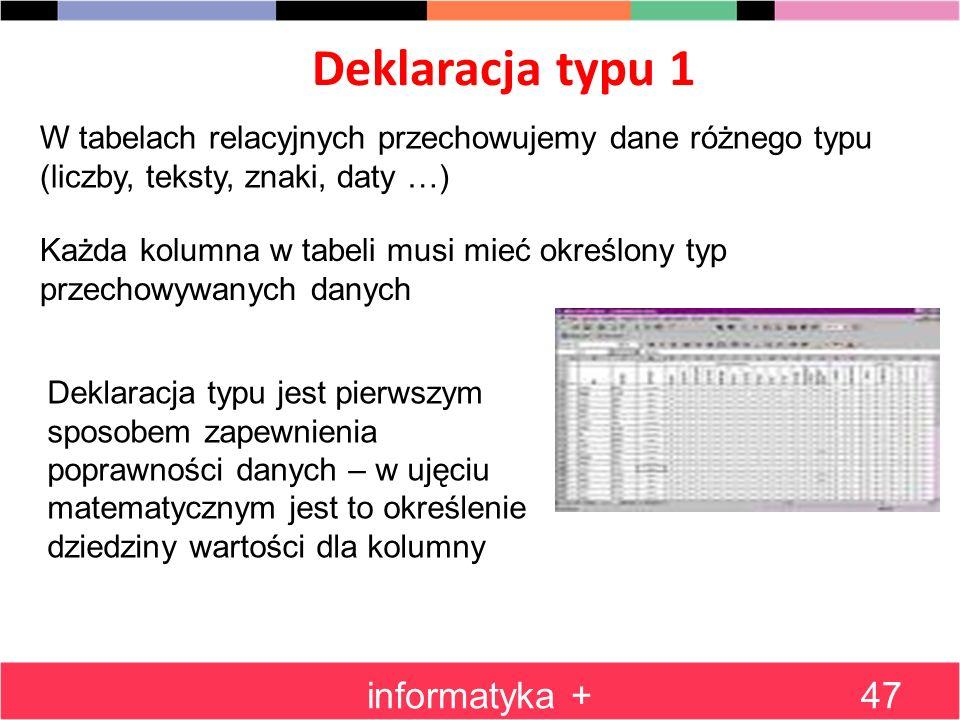 Deklaracja typu 1 informatyka +