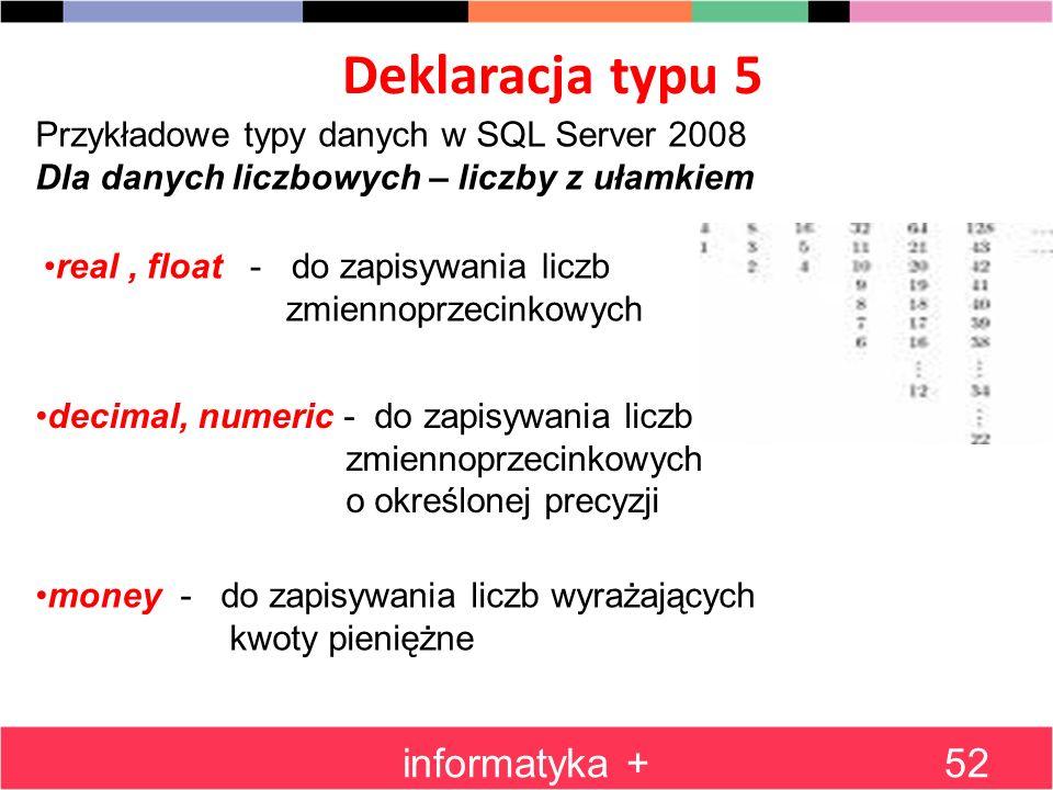 Deklaracja typu 5 informatyka +