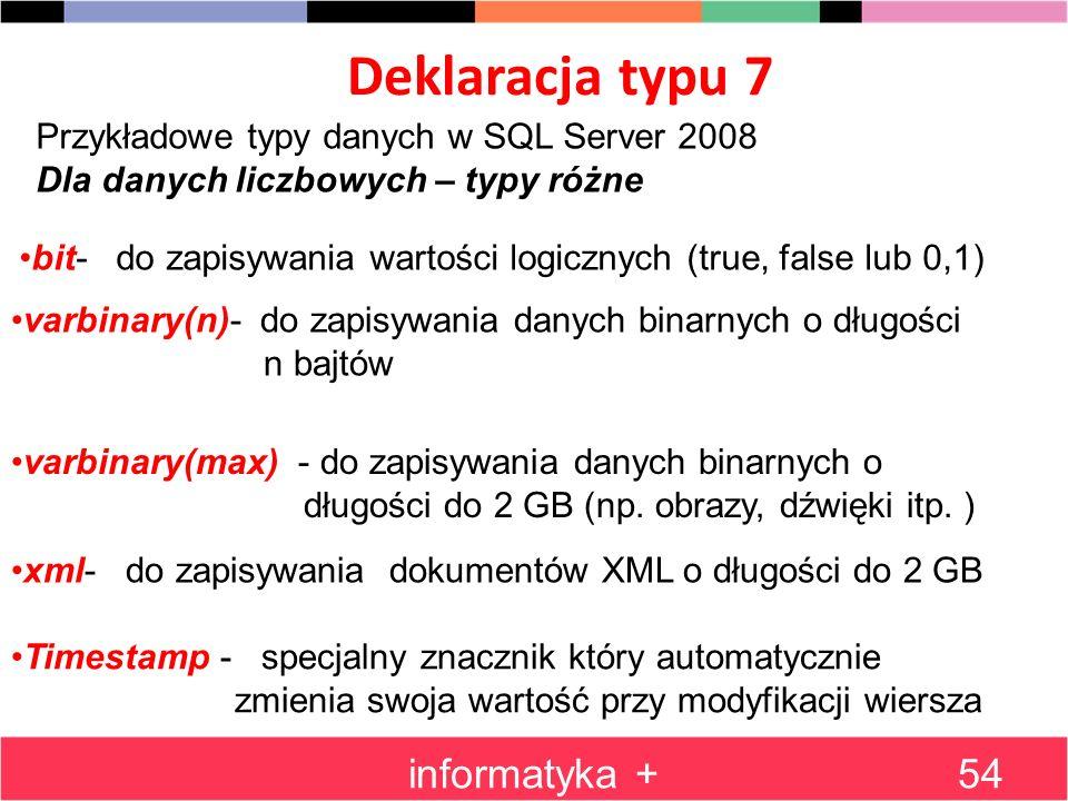 Deklaracja typu 7 informatyka +