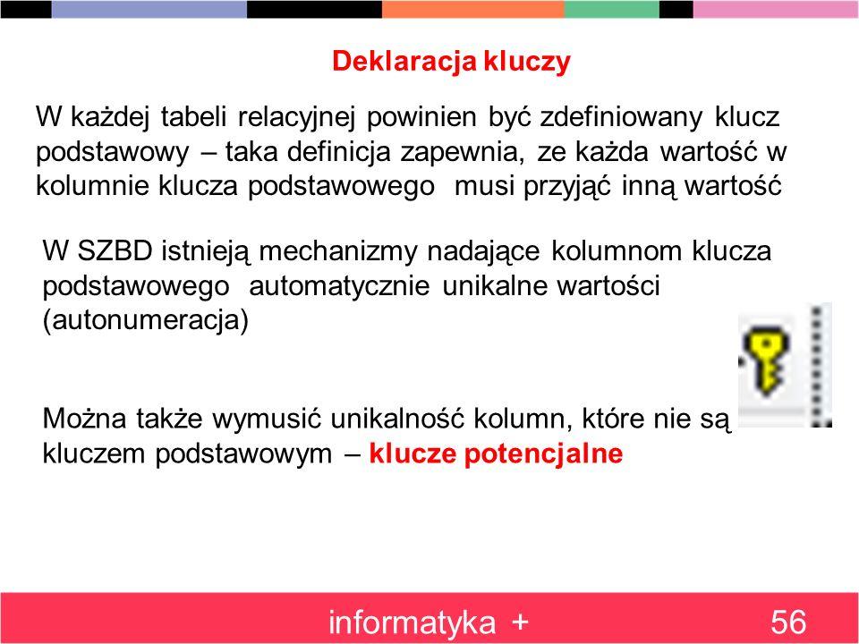 informatyka + Deklaracja kluczy