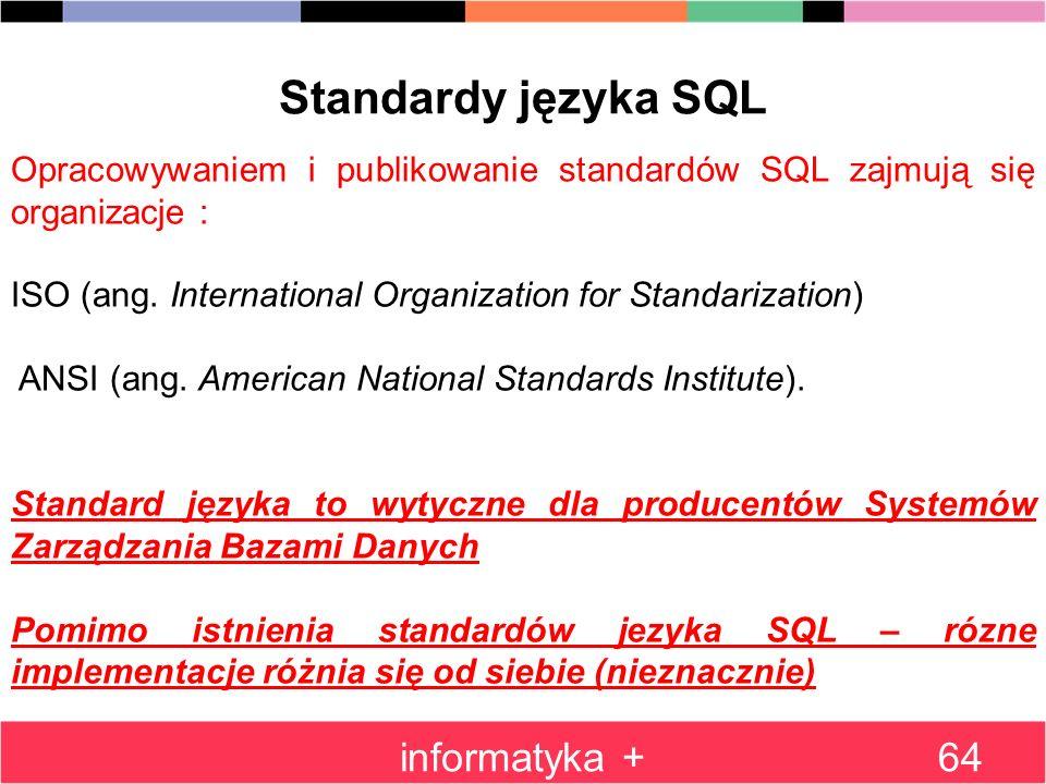 Standardy języka SQL informatyka +
