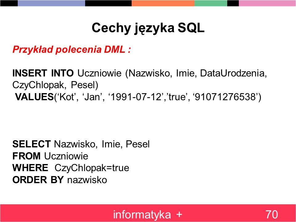 Cechy języka SQL informatyka + Przykład polecenia DML :