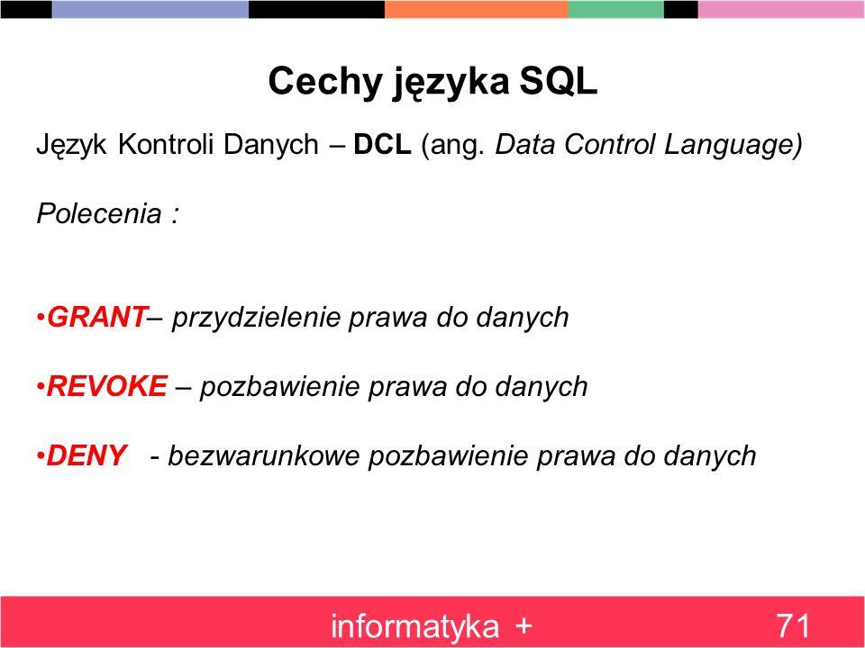 Cechy języka SQL informatyka +