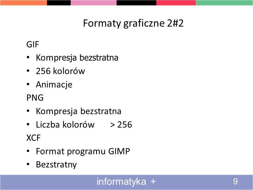 Formaty graficzne 2#2 GIF Kompresja bezstratna 256 kolorów Animacje