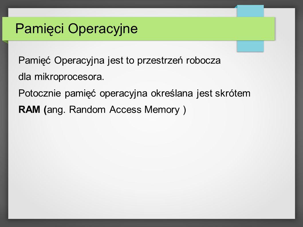 Pamięci Operacyjne Pamięć Operacyjna jest to przestrzeń robocza