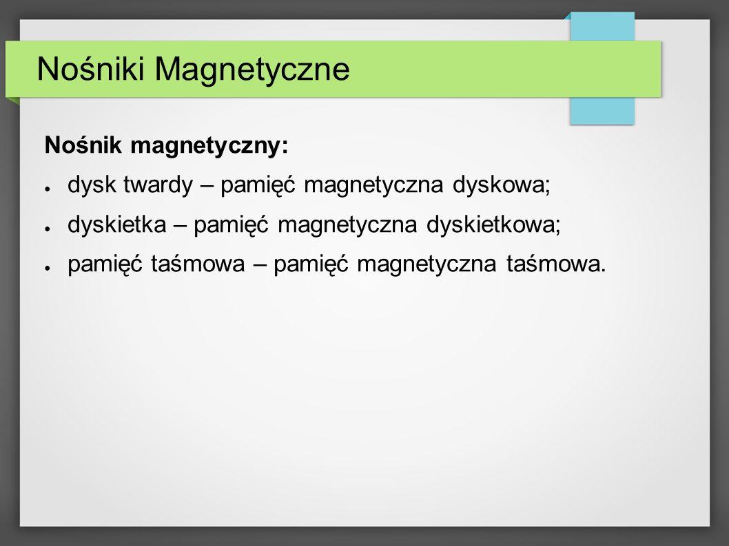 Nośniki Magnetyczne Nośnik magnetyczny: