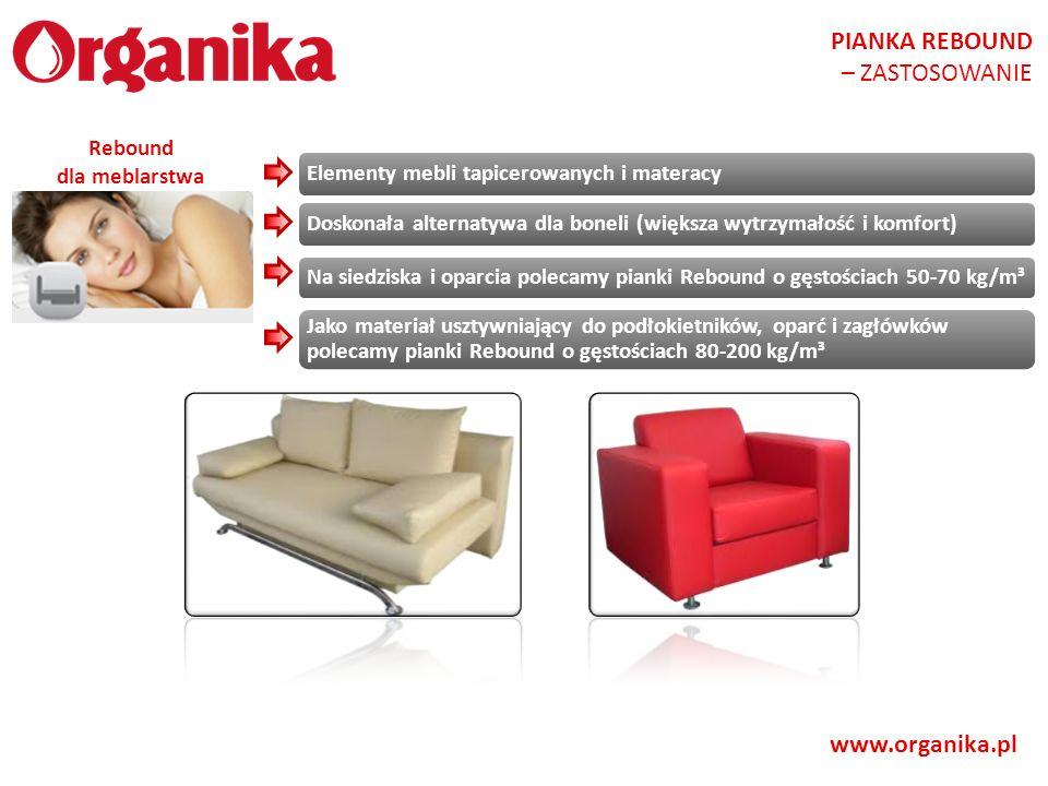 PIANKA REBOUND – ZASTOSOWANIE www.organika.pl Rebound dla meblarstwa