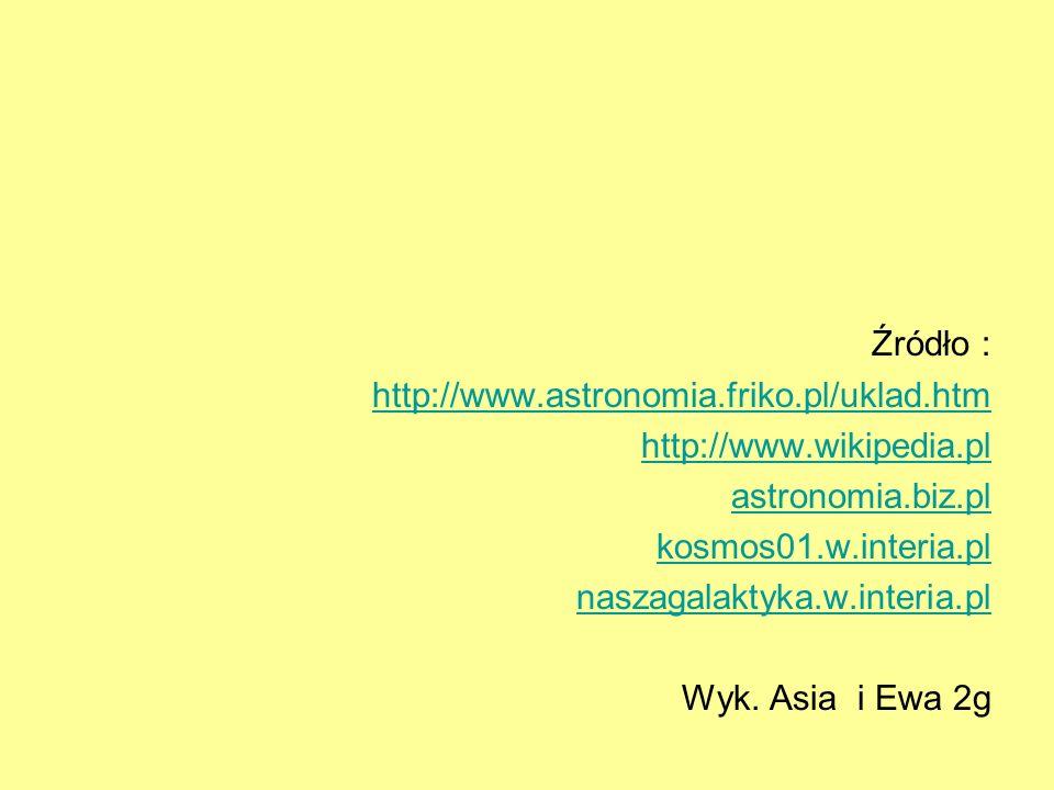 Źródło : http://www.astronomia.friko.pl/uklad.htm. http://www.wikipedia.pl. astronomia.biz.pl. kosmos01.w.interia.pl.
