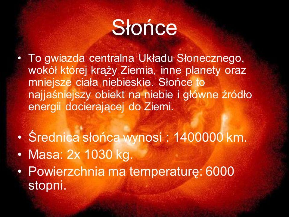 Słońce Średnica słońca wynosi : 1400000 km. Masa: 2x 1030 kg.