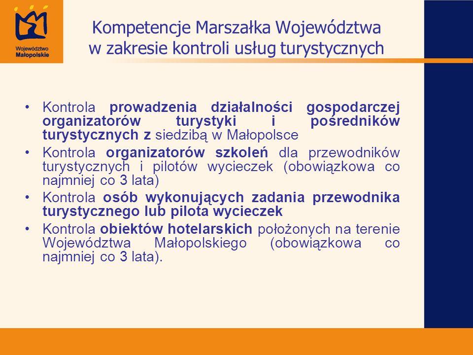 Kompetencje Marszałka Województwa w zakresie kontroli usług turystycznych