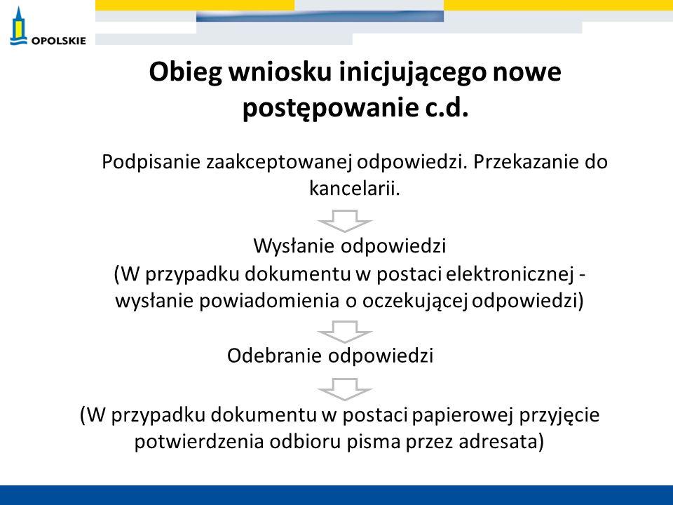 Obieg wniosku inicjującego nowe postępowanie c.d.