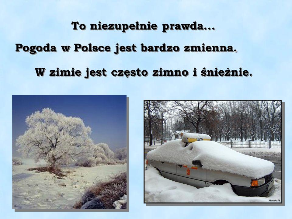 To niezupełnie prawda... Pogoda w Polsce jest bardzo zmienna. W zimie jest często zimno i śnieżnie.