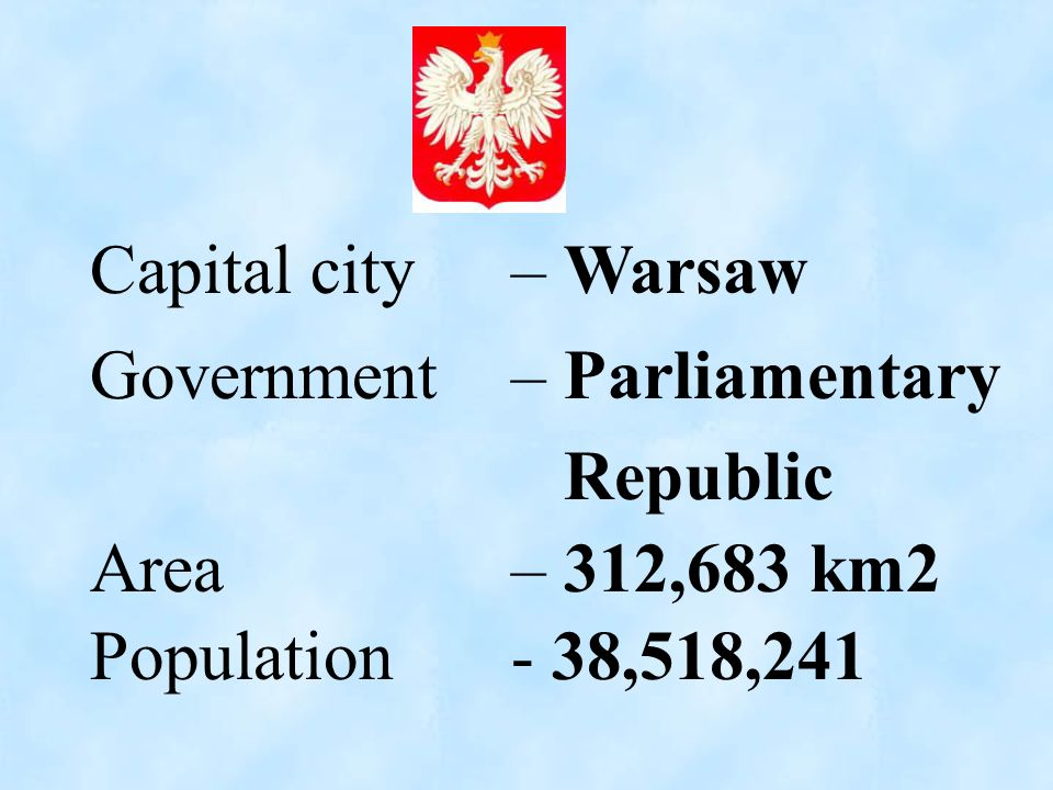Capital city – Warsaw Government – Parliamentary.