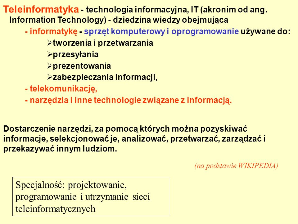 Teleinformatyka - technologia informacyjna, IT (akronim od ang