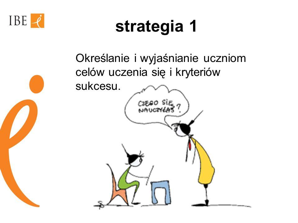 strategia 1 Określanie i wyjaśnianie uczniom celów uczenia się i kryteriów sukcesu.