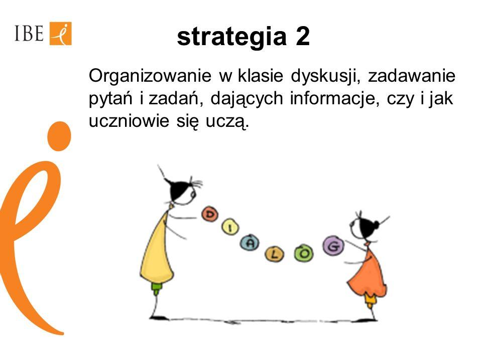 strategia 2 Organizowanie w klasie dyskusji, zadawanie pytań i zadań, dających informacje, czy i jak uczniowie się uczą.