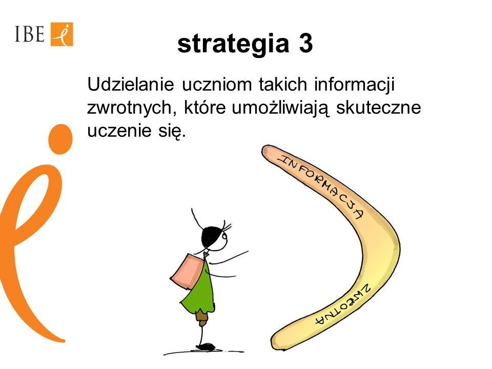 strategia 3 Udzielanie uczniom takich informacji zwrotnych, które umożliwiają skuteczne uczenie się.