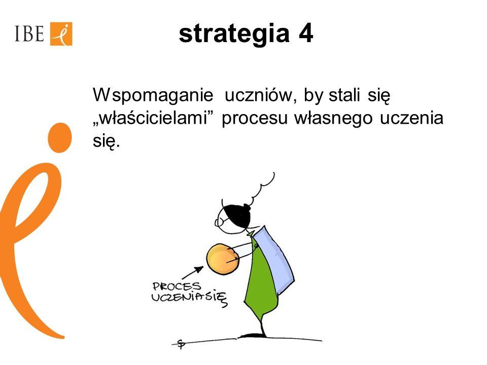 """strategia 4 Wspomaganie uczniów, by stali się """"właścicielami procesu własnego uczenia się."""