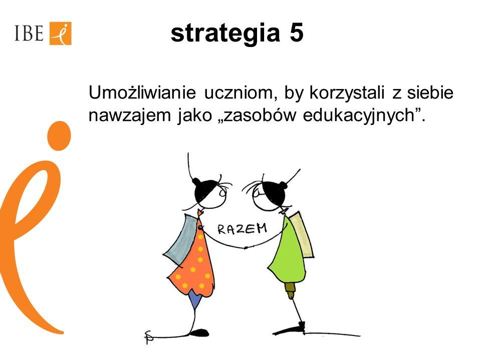 """strategia 5 Umożliwianie uczniom, by korzystali z siebie nawzajem jako """"zasobów edukacyjnych ."""