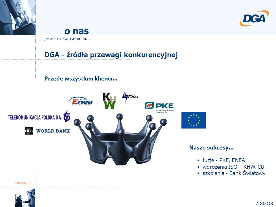o nas DGA - źródła przewagi konkurencyjnej Przede wszystkim klienci...