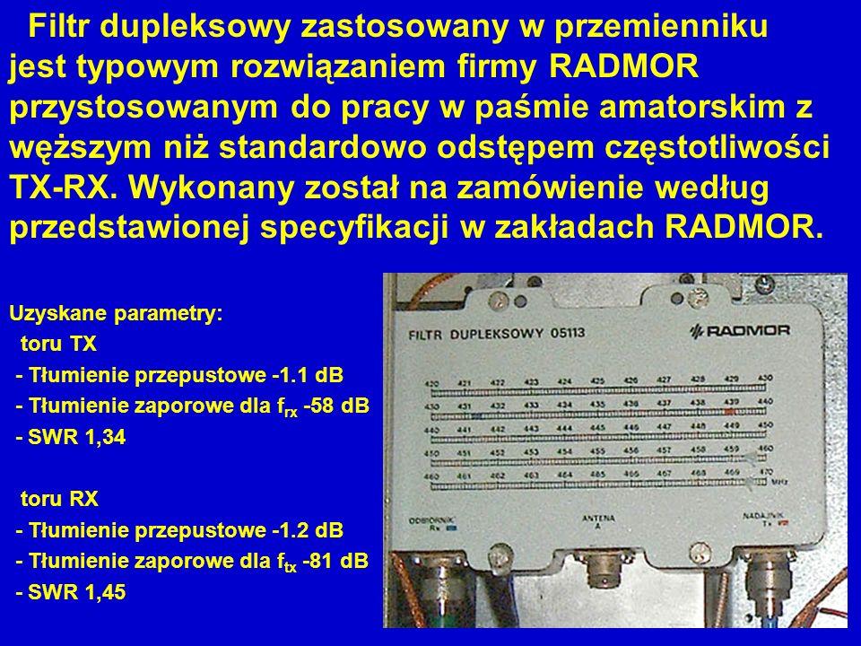 Filtr dupleksowy zastosowany w przemienniku jest typowym rozwiązaniem firmy RADMOR przystosowanym do pracy w paśmie amatorskim z węższym niż standardowo odstępem częstotliwości TX-RX. Wykonany został na zamówienie według przedstawionej specyfikacji w zakładach RADMOR.