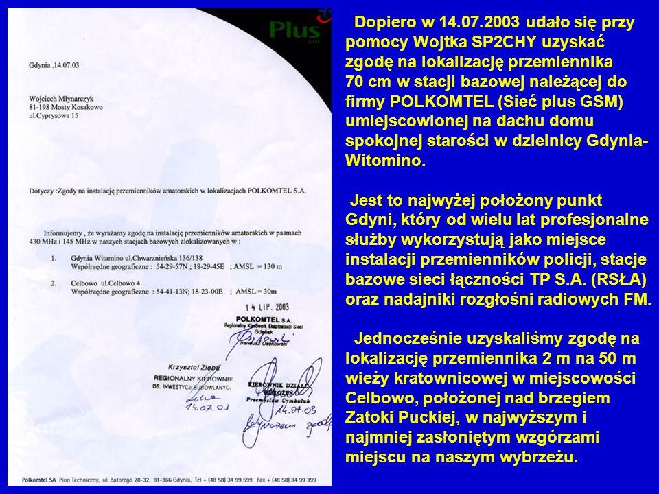 Dopiero w 14.07.2003 udało się przy pomocy Wojtka SP2CHY uzyskać zgodę na lokalizację przemiennika 70 cm w stacji bazowej należącej do firmy POLKOMTEL (Sieć plus GSM) umiejscowionej na dachu domu spokojnej starości w dzielnicy Gdynia-Witomino.