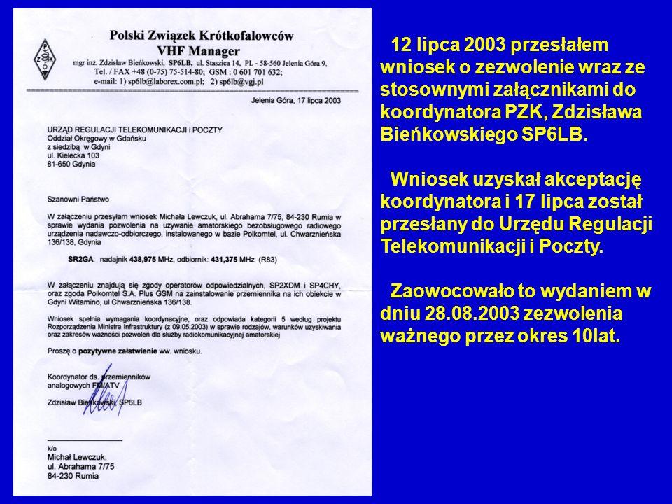 12 lipca 2003 przesłałem wniosek o zezwolenie wraz ze stosownymi załącznikami do koordynatora PZK, Zdzisława Bieńkowskiego SP6LB.