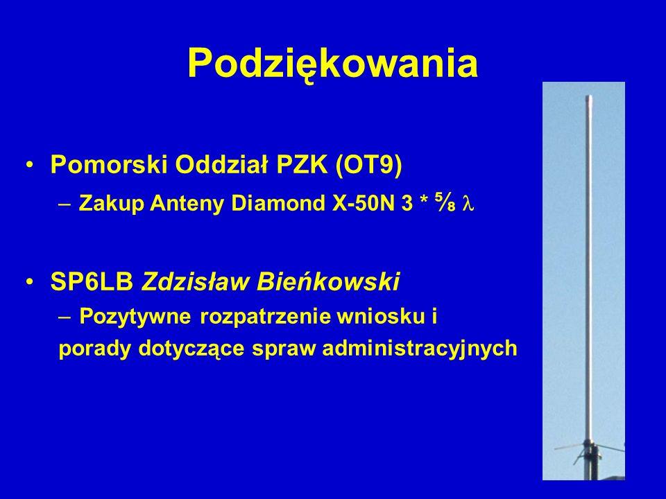 Podziękowania Pomorski Oddział PZK (OT9) SP6LB Zdzisław Bieńkowski