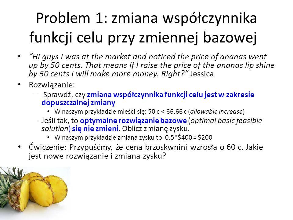 Problem 1: zmiana współczynnika funkcji celu przy zmiennej bazowej