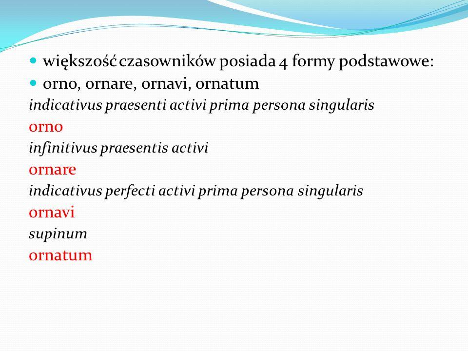 większość czasowników posiada 4 formy podstawowe: