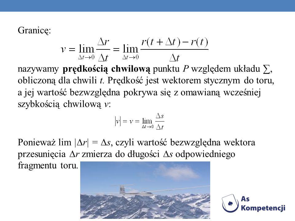 Granicę: nazywamy prędkością chwilową punktu P względem układu ∑, obliczoną dla chwili t.