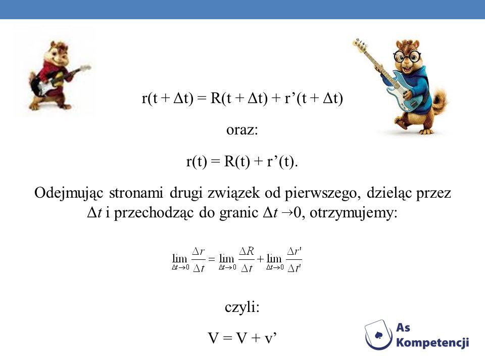 r(t + Δt) = R(t + Δt) + r'(t + Δt) oraz: r(t) = R(t) + r'(t)