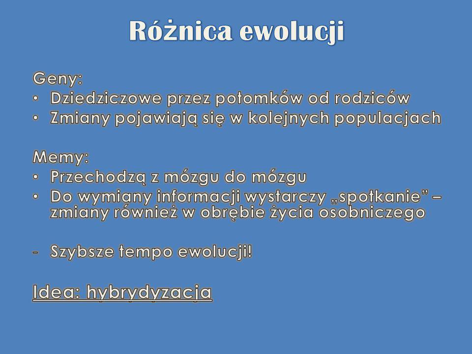 Różnica ewolucji Idea: hybrydyzacja Geny: