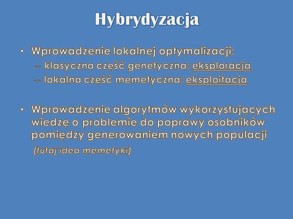 Hybrydyzacja Wprowadzenie lokalnej optymalizacji: