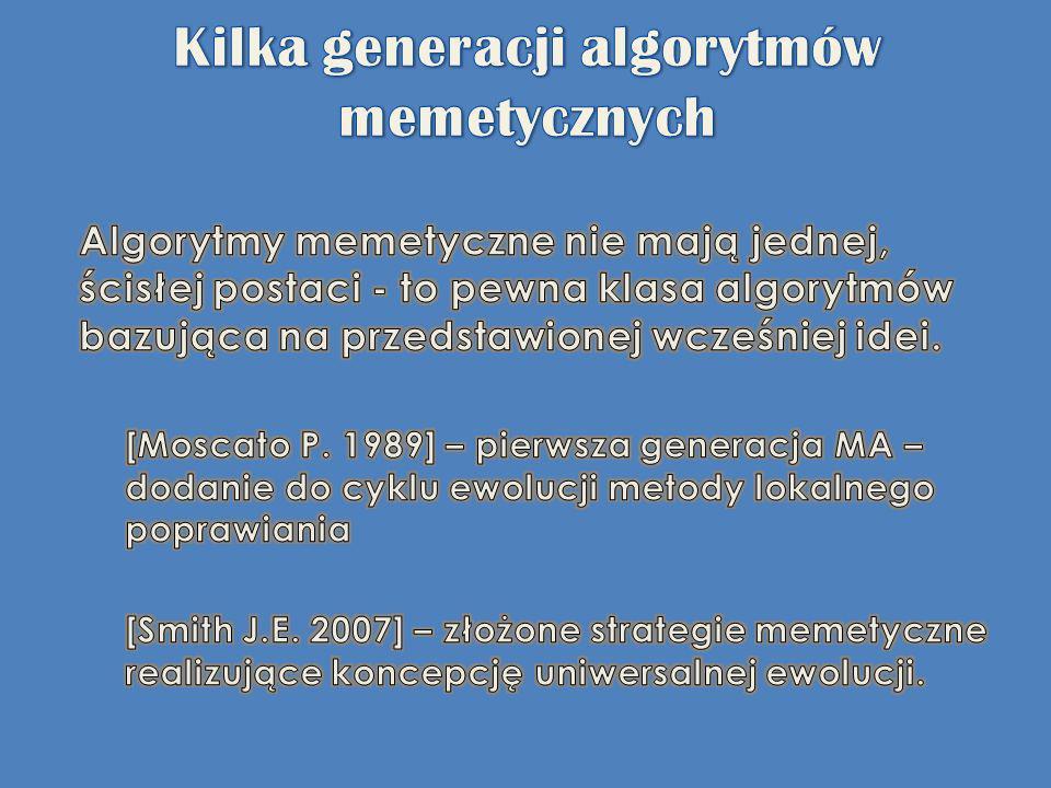 Kilka generacji algorytmów memetycznych