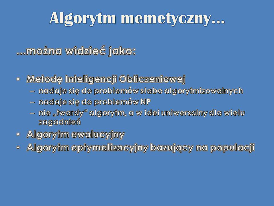 Algorytm memetyczny... ...można widzieć jako:
