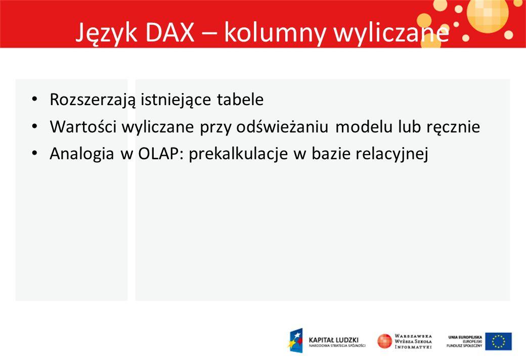 Język DAX – kolumny wyliczane