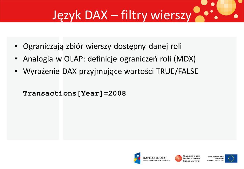 Język DAX – filtry wierszy
